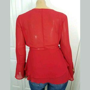Newport News Sheer Red Top
